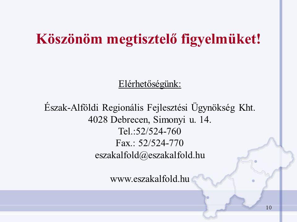 10 Köszönöm megtisztelő figyelmüket! Elérhetőségünk: Észak-Alföldi Regionális Fejlesztési Ügynökség Kht. 4028 Debrecen, Simonyi u. 14. Tel.:52/524-760
