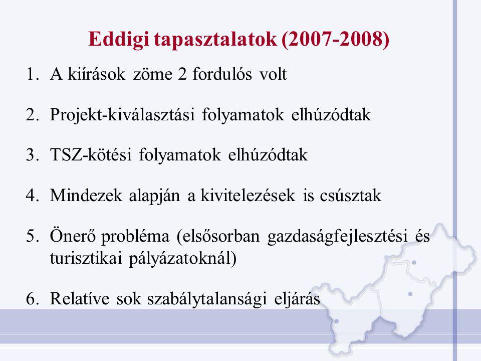 Eddigi tapasztalatok (2007-2008) 1.A kiírások zöme 2 fordulós volt 2.Projekt-kiválasztási folyamatok elhúzódtak 3.TSZ-kötési folyamatok elhúzódtak 4.M
