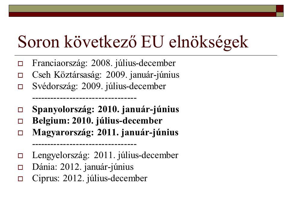 Soron következő EU elnökségek  Franciaország: 2008.