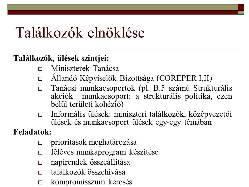 Találkozók elnöklése Találkozók, ülések szintjei:  Miniszterek Tanácsa  Állandó Képviselők Bizottsága (COREPER I,II)  Tanácsi munkacsoportok (pl.