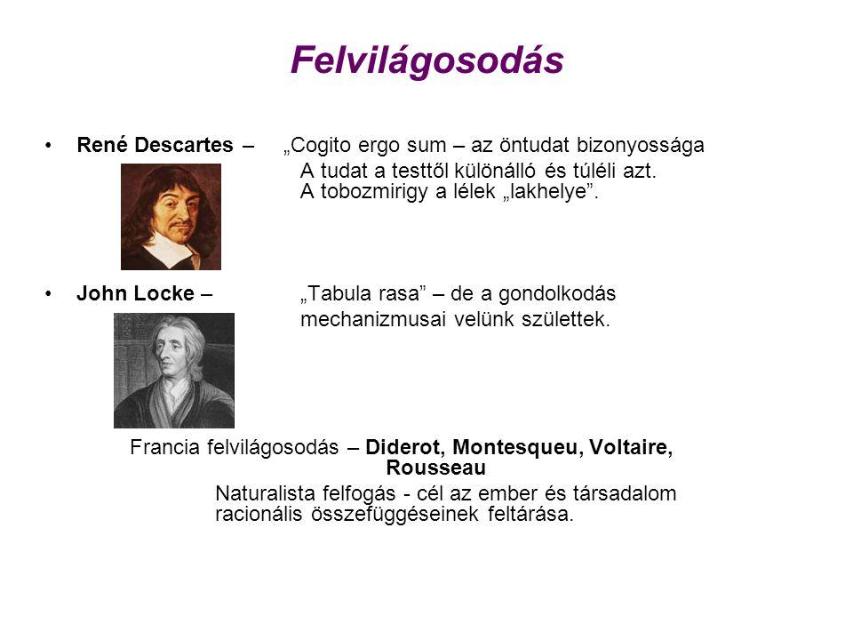 """Felvilágosodás René Descartes – """"Cogito ergo sum – az öntudat bizonyossága A tudat a testtől különálló és túléli azt. A tobozmirigy a lélek """"lakhelye"""""""