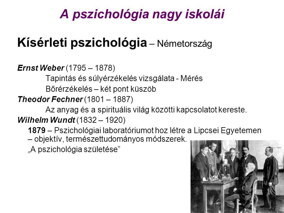 A pszichológia nagy iskolái Kísérleti pszichológia – Németország Ernst Weber (1795 – 1878) Tapintás és súlyérzékelés vizsgálata - Mérés Bőrérzékelés – két pont küszöb Theodor Fechner (1801 – 1887) Az anyag és a spirituális világ közötti kapcsolatot kereste.
