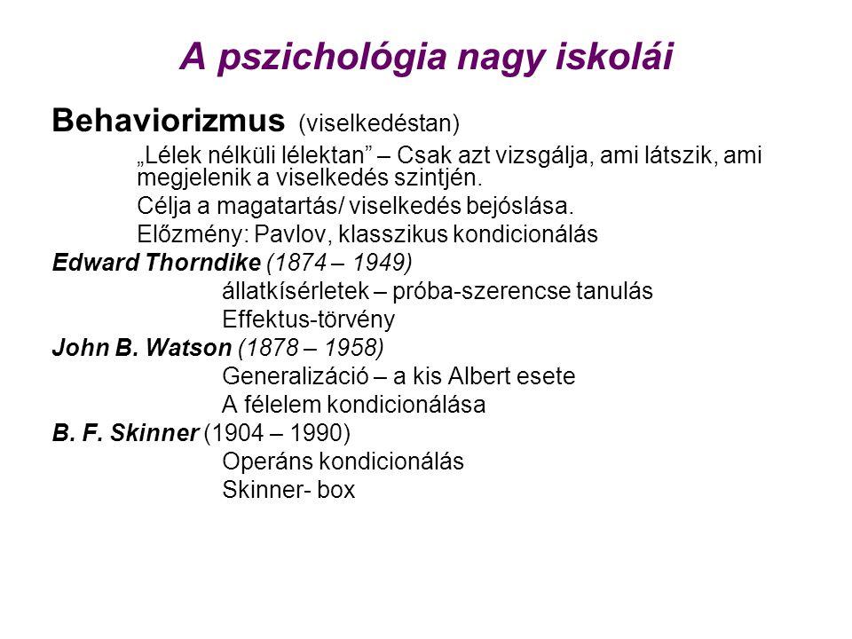"""A pszichológia nagy iskolái Behaviorizmus (viselkedéstan) """"Lélek nélküli lélektan – Csak azt vizsgálja, ami látszik, ami megjelenik a viselkedés szintjén."""