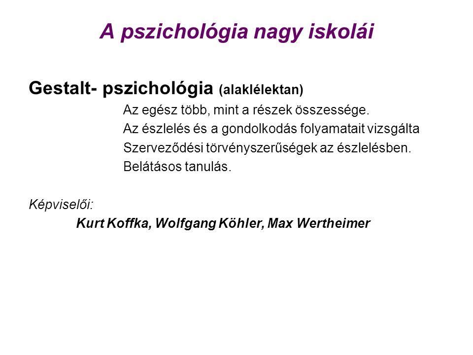 Gestalt- pszichológia (alaklélektan) Az egész több, mint a részek összessége. Az észlelés és a gondolkodás folyamatait vizsgálta Szerveződési törvénys