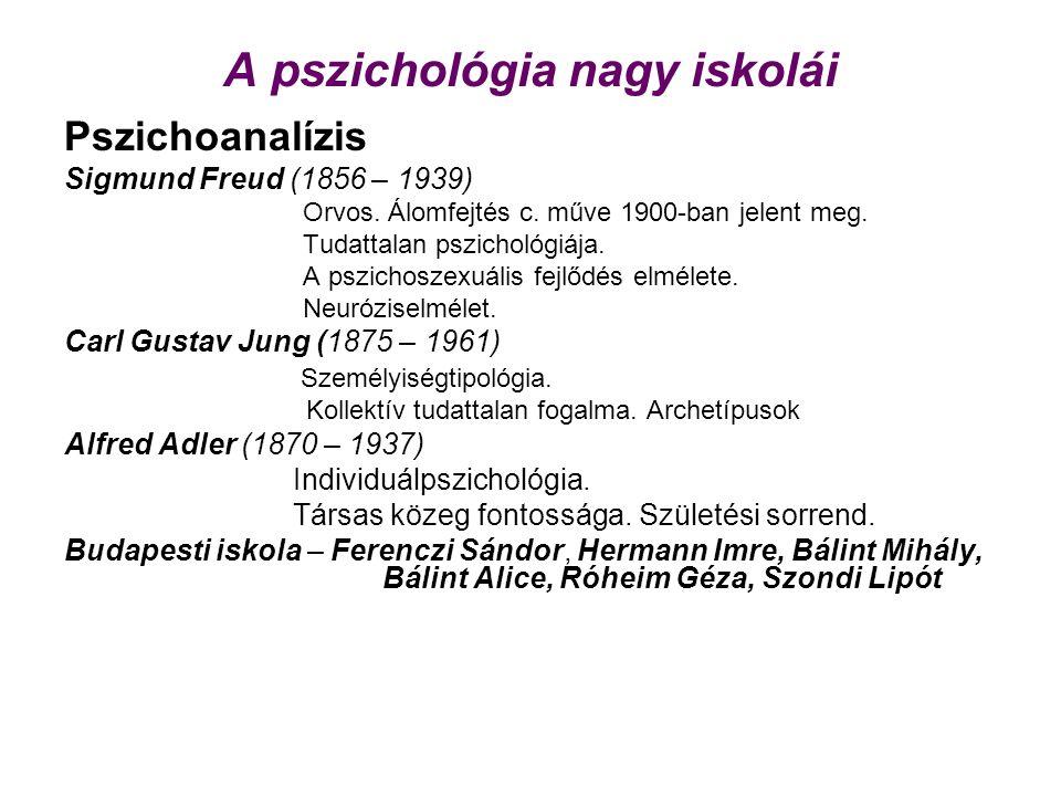 A pszichológia nagy iskolái Pszichoanalízis Sigmund Freud (1856 – 1939) Orvos. Álomfejtés c. műve 1900-ban jelent meg. Tudattalan pszichológiája. A ps