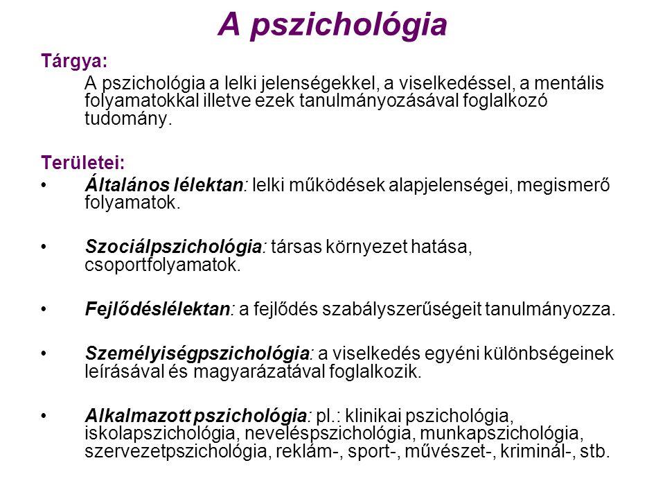 A pszichológia Tárgya: A pszichológia a lelki jelenségekkel, a viselkedéssel, a mentális folyamatokkal illetve ezek tanulmányozásával foglalkozó tudomány.