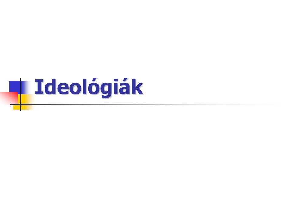 Az ideológia fogalma összefüggő nézetrendszer hit- és értékrendszeren nyugszik politikai cselekvés eszközeit, céljait magyarázza