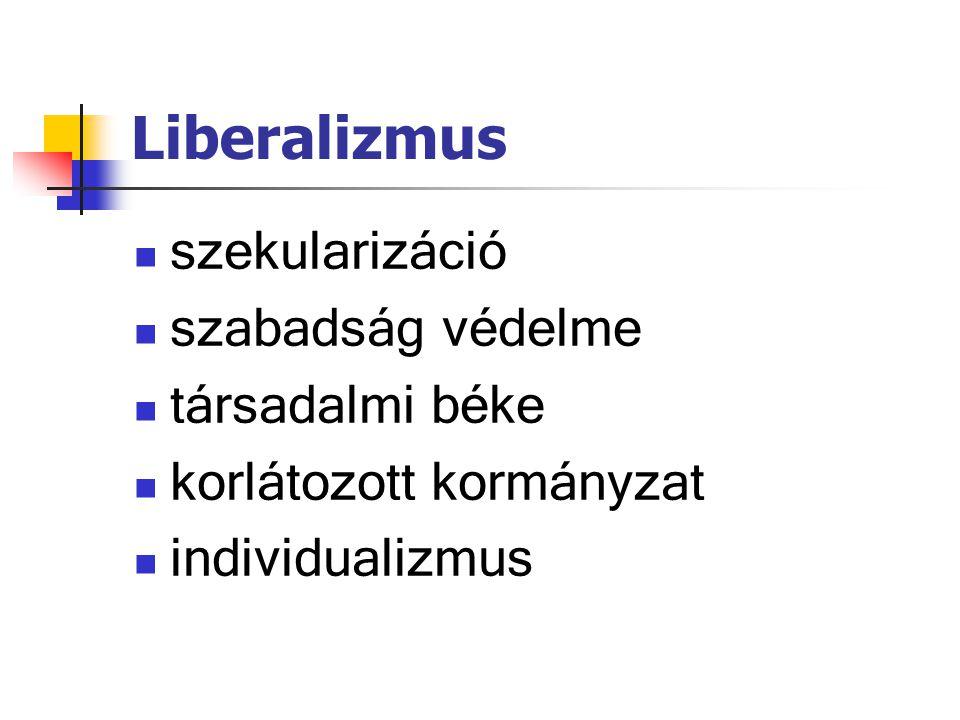 Liberalizmus szekularizáció szabadság védelme társadalmi béke korlátozott kormányzat individualizmus