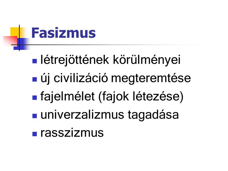 Fasizmus létrejöttének körülményei új civilizáció megteremtése fajelmélet (fajok létezése) univerzalizmus tagadása rasszizmus