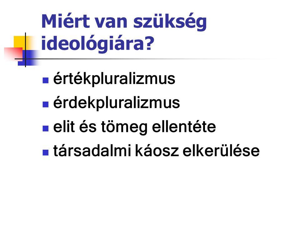Miért van szükség ideológiára? értékpluralizmus érdekpluralizmus elit és tömeg ellentéte társadalmi káosz elkerülése