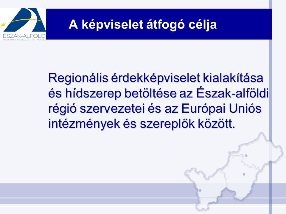 A képviselet átfogó célja Regionális érdekképviselet kialakítása és hídszerep betöltése az Észak-alföldi régió szervezetei és az Európai Uniós intézmények és szereplők között.