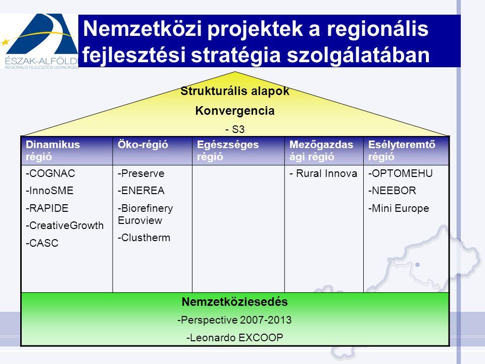 Nemzetközi projektek a regionális fejlesztési stratégia szolgálatában Dinamikus régió Öko-régióEgészséges régió Mezőgazdas ági régió Esélyteremtő régió -COGNAC -InnoSME -RAPIDE -CreativeGrowth -CASC -Preserve -ENEREA -Biorefinery Euroview -Clustherm - Rural Innova-OPTOMEHU -NEEBOR -Mini Europe Nemzetköziesedés -Perspective 2007-2013 -Leonardo EXCOOP Strukturális alapok Konvergencia - S3