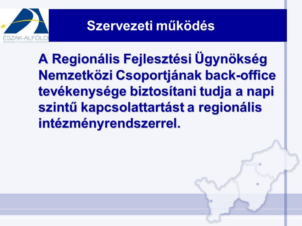 Szervezeti működés A Regionális Fejlesztési Ügynökség Nemzetközi Csoportjának back-office tevékenysége biztosítani tudja a napi szintű kapcsolattartást a regionális intézményrendszerrel.