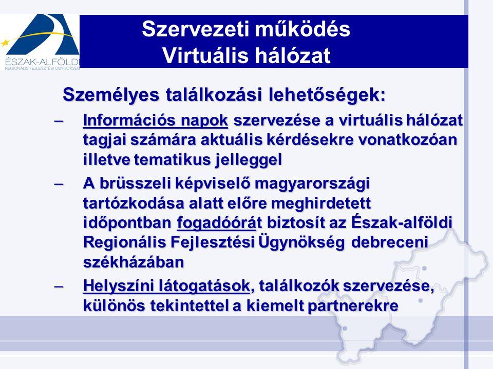 Szervezeti működés Virtuális hálózat Személyes találkozási lehetőségek: –Információs napok szervezése a virtuális hálózat tagjai számára aktuális kérdésekre vonatkozóan illetve tematikus jelleggel –A brüsszeli képviselő magyarországi tartózkodása alatt előre meghirdetett időpontban fogadóórát biztosít az Észak-alföldi Regionális Fejlesztési Ügynökség debreceni székházában –Helyszíni látogatások, találkozók szervezése, különös tekintettel a kiemelt partnerekre