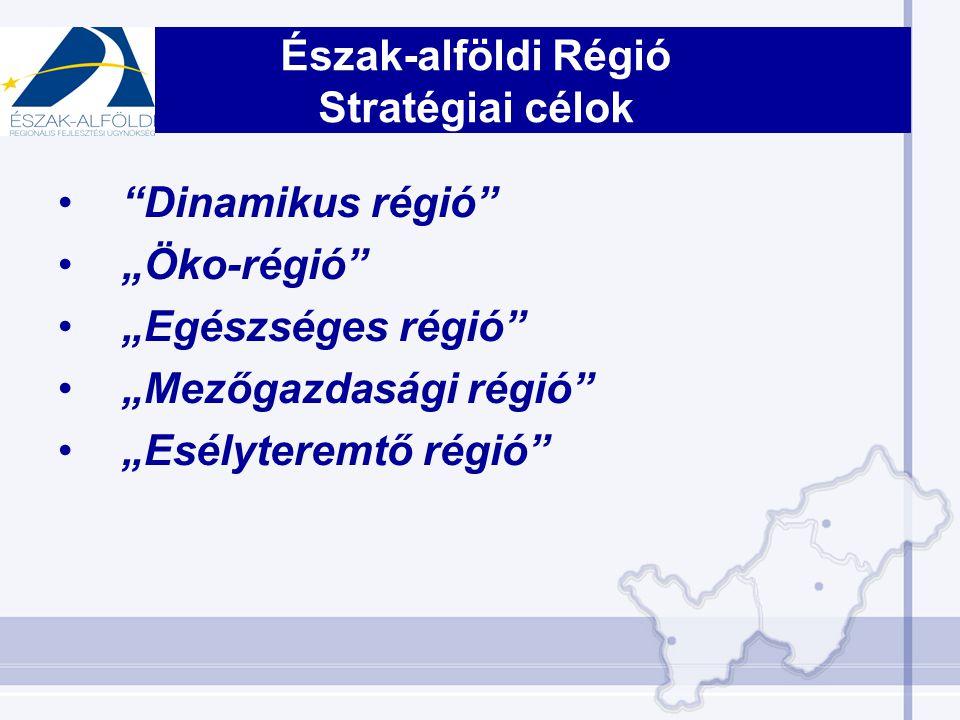 """Dinamikus régió """"Öko-régió """"Egészséges régió """"Mezőgazdasági régió """"Esélyteremtő régió Észak-alföldi Régió Stratégiai célok"""