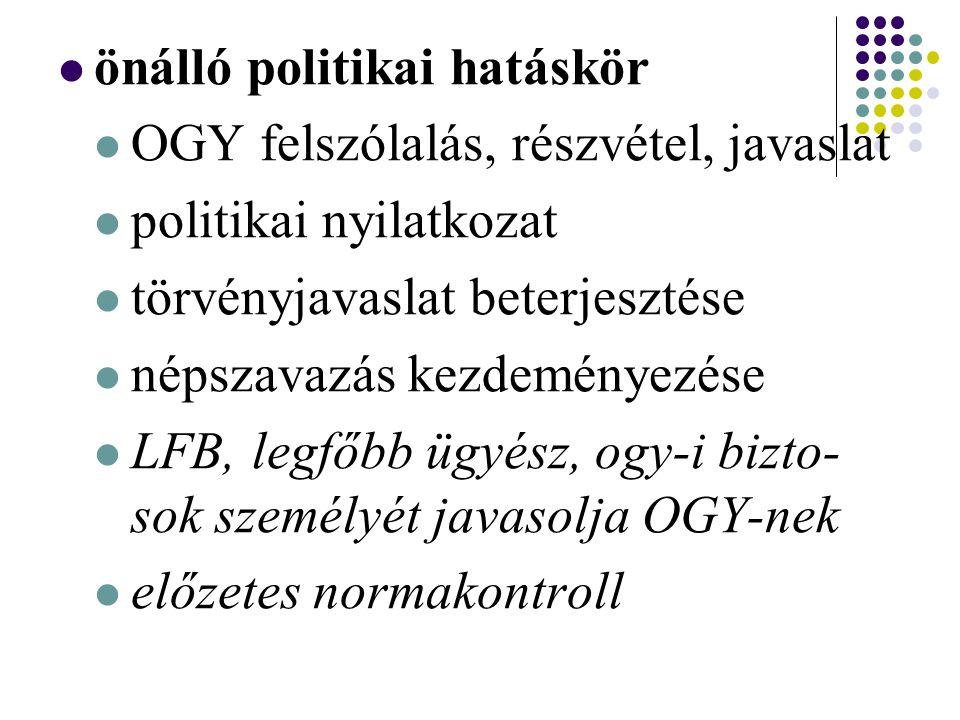 önálló politikai hatáskör OGY felszólalás, részvétel, javaslat politikai nyilatkozat törvényjavaslat beterjesztése népszavazás kezdeményezése LFB, legfőbb ügyész, ogy-i bizto- sok személyét javasolja OGY-nek előzetes normakontroll