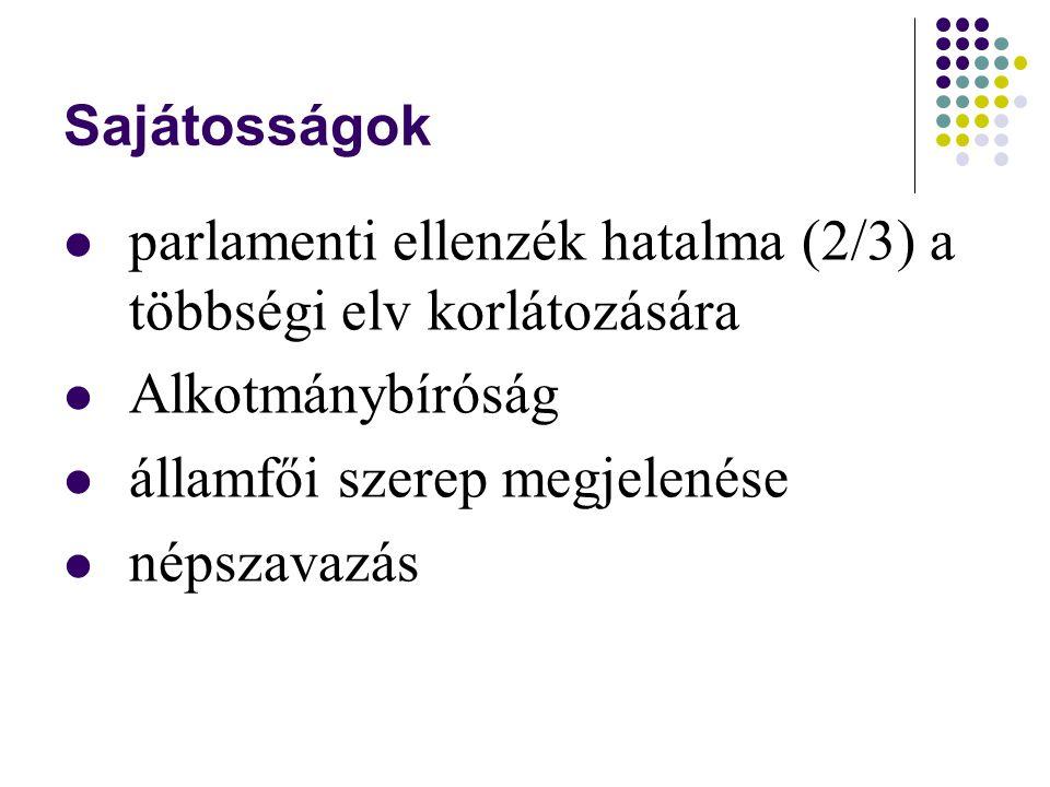 Sajátosságok parlamenti ellenzék hatalma (2/3) a többségi elv korlátozására Alkotmánybíróság államfői szerep megjelenése népszavazás