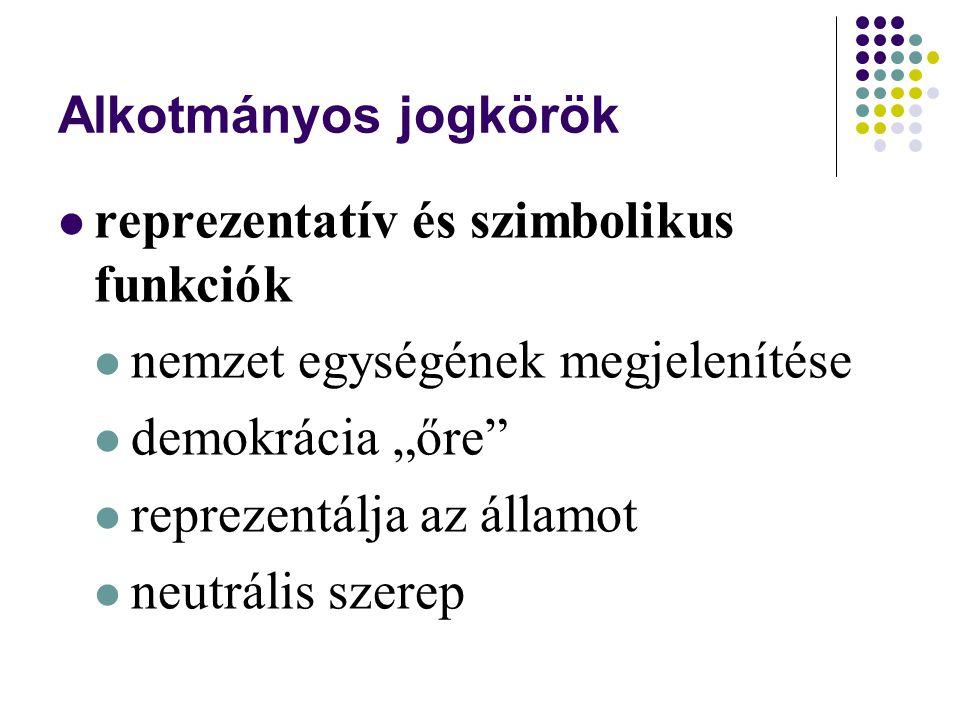 """Alkotmányos jogkörök reprezentatív és szimbolikus funkciók nemzet egységének megjelenítése demokrácia """"őre reprezentálja az államot neutrális szerep"""