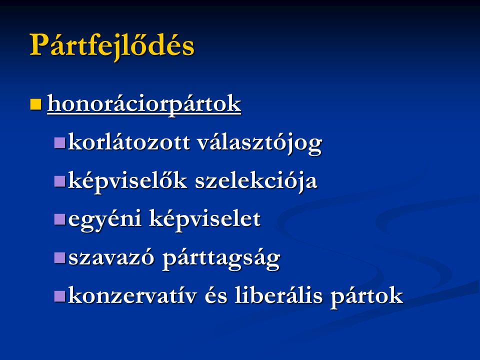 tömegpártok tömegpártok társadalmi integráció társadalmi integráció általános választójog általános választójog osztályérdek megjelenítése osztályérdek megjelenítése pártszervezet pártszervezet szociáldemokrata és kereszténydemokrata pártok szociáldemokrata és kereszténydemokrata pártok