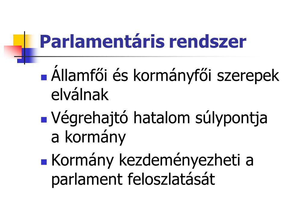 Parlamentáris rendszer Államfői és kormányfői szerepek elválnak Végrehajtó hatalom súlypontja a kormány Kormány kezdeményezheti a parlament feloszlatá