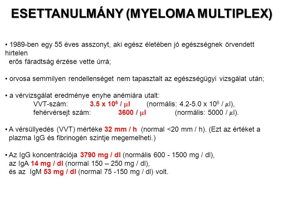 ESETTANULMÁNY (MYELOMA MULTIPLEX) 1989-ben egy 55 éves asszonyt, aki egész életében jó egészségnek örvendett hirtelen erős fáradtság érzése vette úrrá