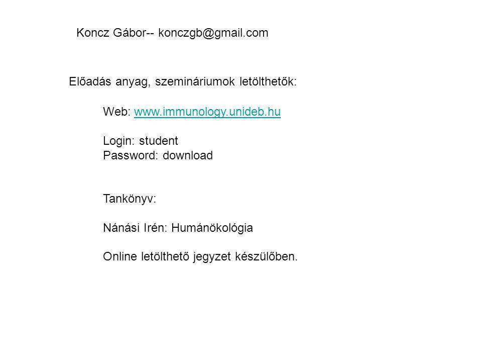 Web: www.immunology.unideb.huwww.immunology.unideb.hu Login: student Password: download Tankönyv: Nánási Irén: Humánökológia Online letölthető jegyzet