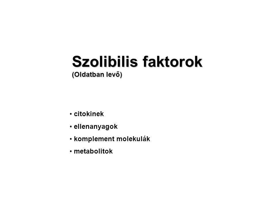 Szolibilis faktorok (Oldatban levő) citokinek ellenanyagok komplement molekulák metabolitok