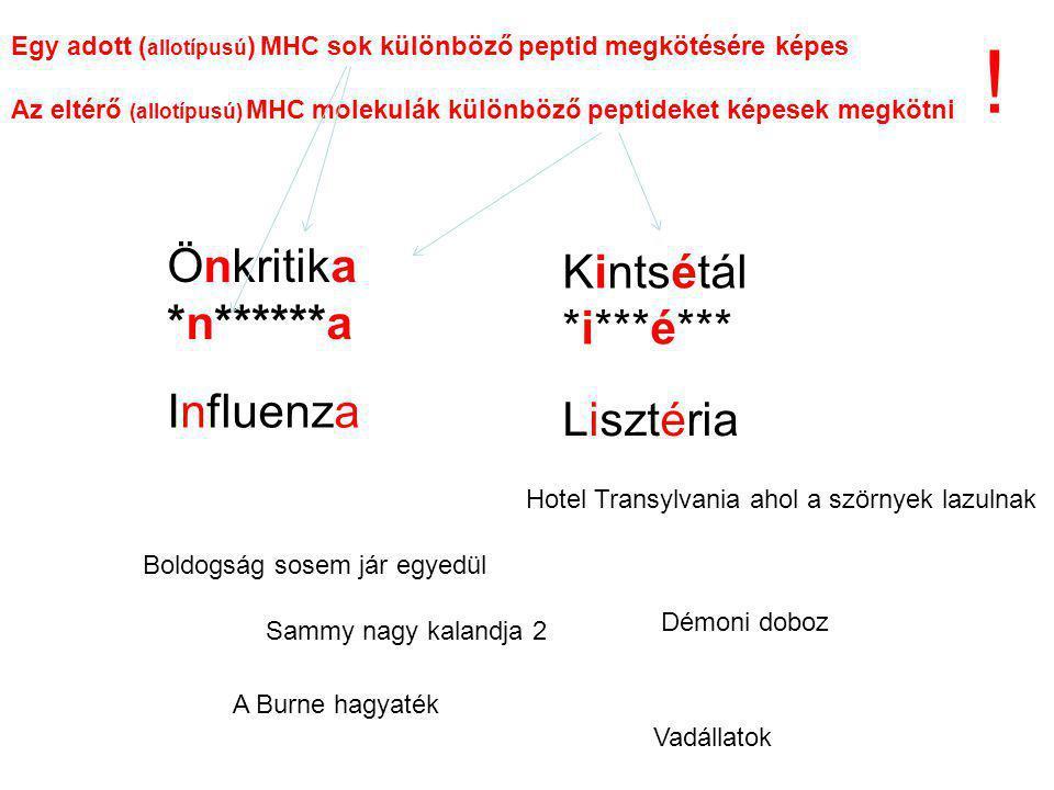 Önkritika *n******a Kintsétál *i***é*** Egy adott ( allotípusú ) MHC sok különböző peptid megkötésére képes Az eltérő (allotípusú) MHC molekulák különböző peptideket képesek megkötni Boldogság sosem jár egyedül Hotel Transylvania ahol a szörnyek lazulnak Démoni doboz A Burne hagyaték Vadállatok Sammy nagy kalandja 2 Influenza Lisztéria !