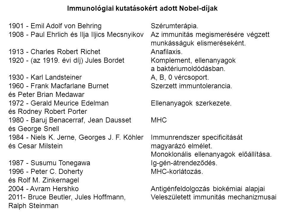 1901 - Emil Adolf von Behring Szérumterápia. 1908 - Paul Ehrlich és Ilja Iljics Mecsnyikov Az immunitás megismerésére végzett munkásságuk elismeréseké