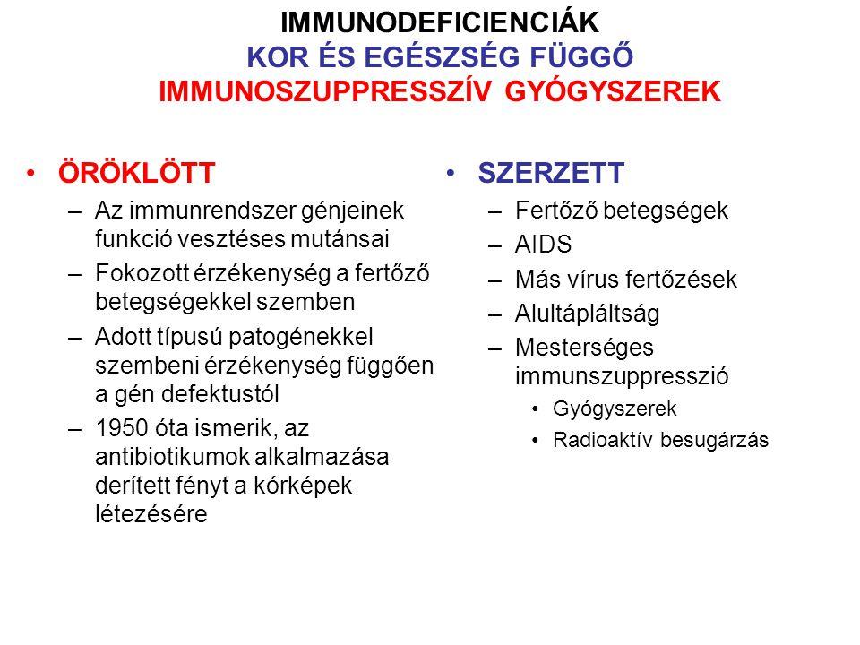 A B ésT sejt fejlődéshibái által okozott immundeficienciák