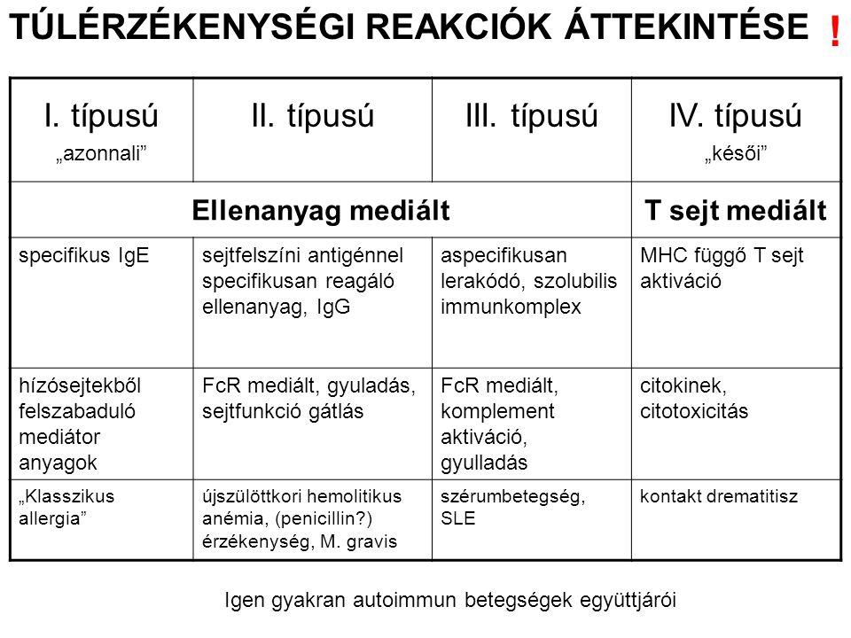"""TÚLÉRZÉKENYSÉGI REAKCIÓK ÁTTEKINTÉSE I. típusú """"azonnali"""" II. típusúIII. típusúIV. típusú """"késői"""" Ellenanyag mediáltT sejt mediált specifikus IgEsejtf"""