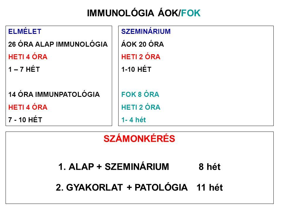 TEMATIKA AZ IMMUNRENDSZER FELÉPÍTÉSE, MŰKÖDÉSE –A sejtkommunikáció lehetőségei – direkt és indirekt –Szervek, szövetek, sejtek –Az immunrendszer két ága Természetes immunitás jellemzői Szerzett immunitás jellemzői IMMUNOLÓGIAI FELISMERÉS – JELÁTVITEL –Mintázat felismerő receptorok –Antigén specifikus felismerés – B limfociták –Antigén felismerés – T limfociták Az MHC fehérjék szerepe az antigén bemutatásban Antigén feldolgozás és prezentáció SEJT AKTIVÁCIÓ, DIFFERENCIÁCIÓ, KOMMUNIKÁCIÓ –Receptorok – Ko-receptorok – Adhéziós molekulák –Végrehajtó mechanizmusok Migráció, adhézió Citokin és kemokin termelés Sejtölő mechanizmusok AZ IMMUNFOLYAMATOK SZABÁLYOZÁSA –Tolerancia és immunitás –Immunológiai memória