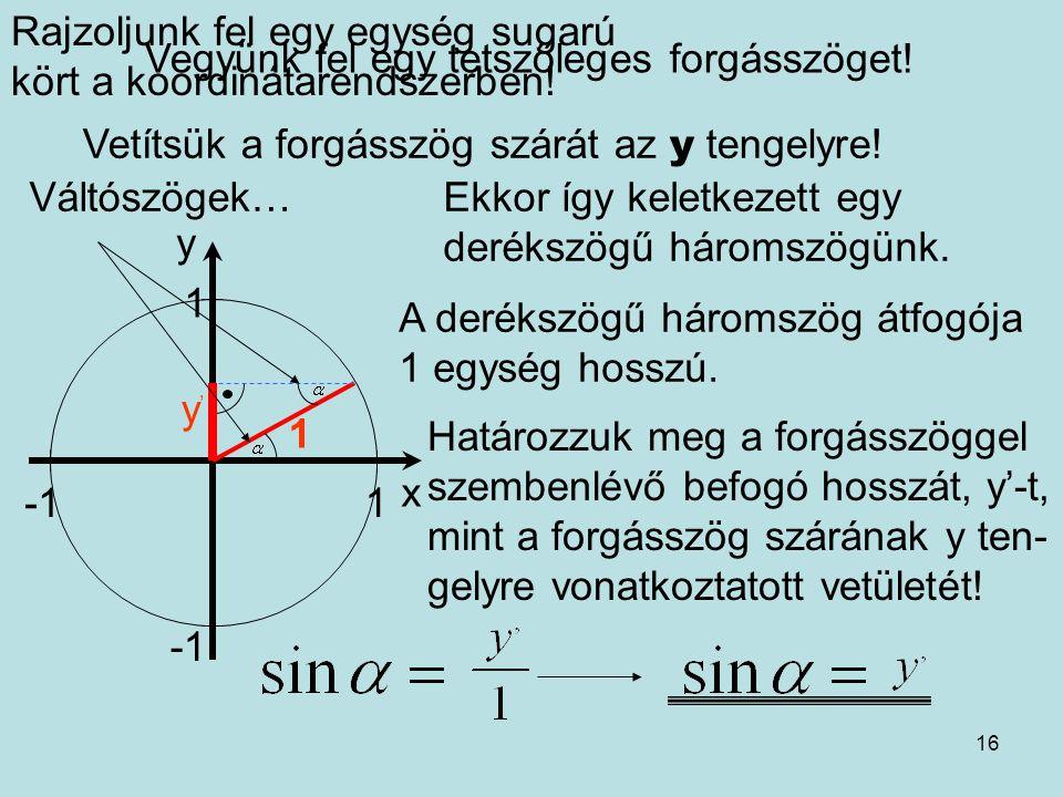 16 Rajzoljunk fel egy egység sugarú kört a koordinátarendszerben! x y 1 1 Vegyünk fel egy tetszőleges forgásszöget! Vetítsük a forgásszög szárát az y