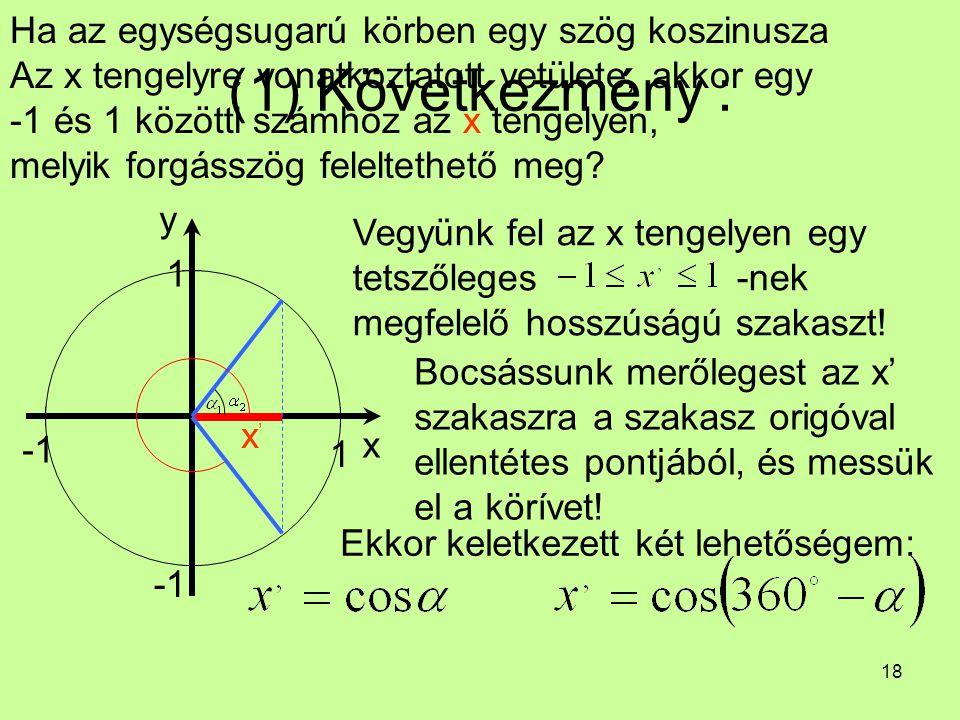 18 (1) Következmény : Ha az egységsugarú körben egy szög koszinusza Az x tengelyre vonatkoztatott vetülete, akkor egy -1 és 1 közötti számhoz az x ten