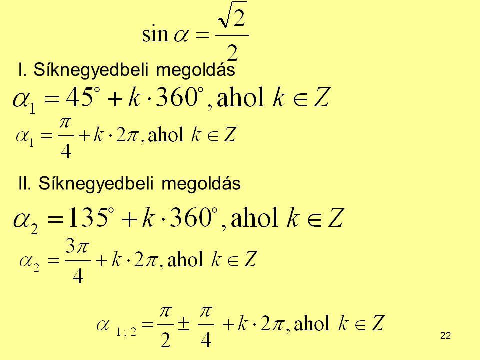 22 I. Síknegyedbeli megoldás II. Síknegyedbeli megoldás