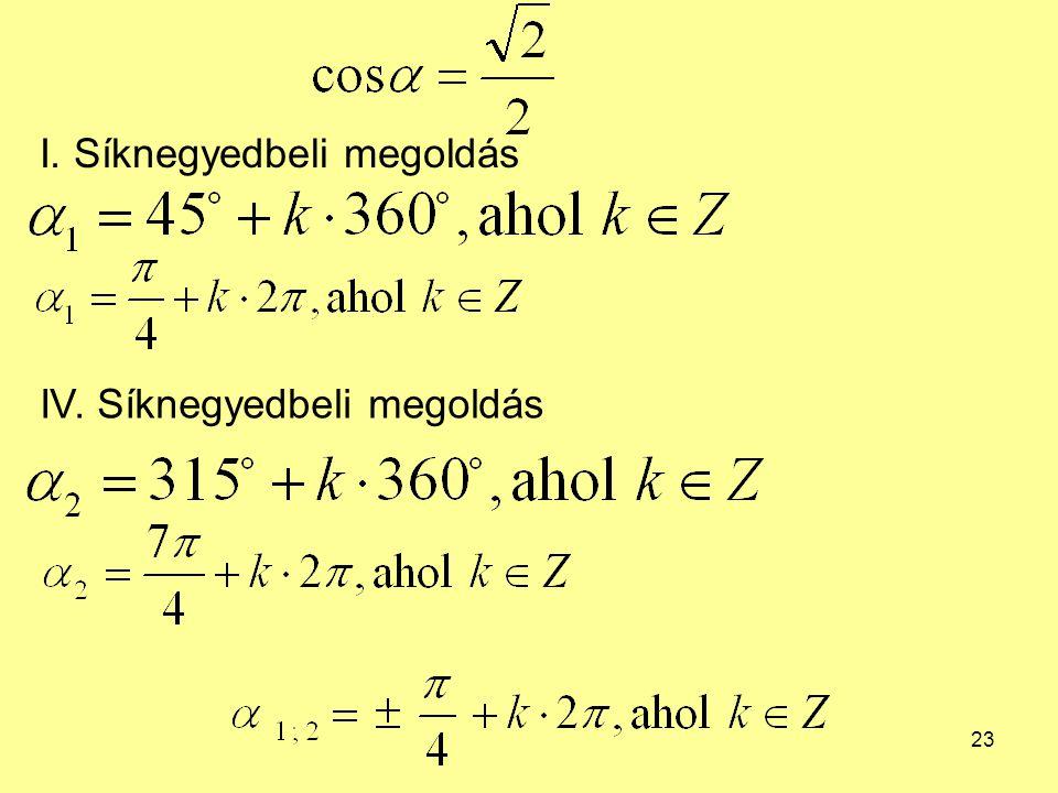 23 I. Síknegyedbeli megoldás IV. Síknegyedbeli megoldás