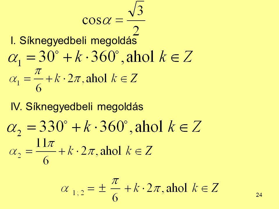 24 I. Síknegyedbeli megoldás IV. Síknegyedbeli megoldás