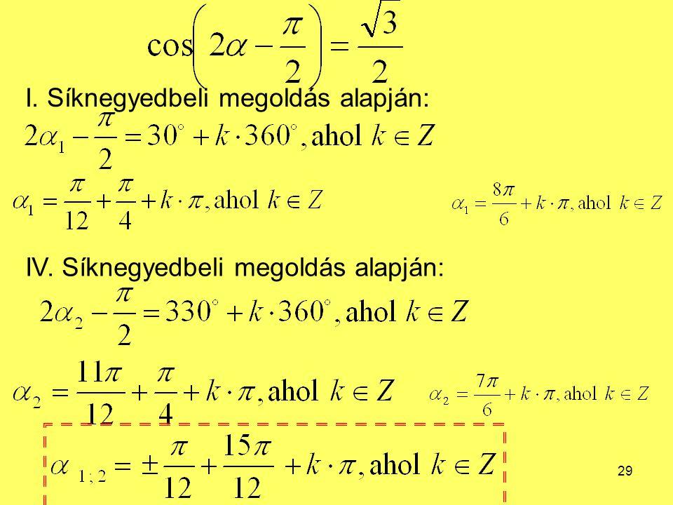 29 I. Síknegyedbeli megoldás alapján: IV. Síknegyedbeli megoldás alapján: