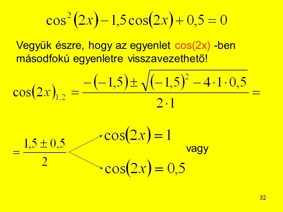 32 Vegyük észre, hogy az egyenlet cos(2x) -ben másodfokú egyenletre visszavezethető! vagy