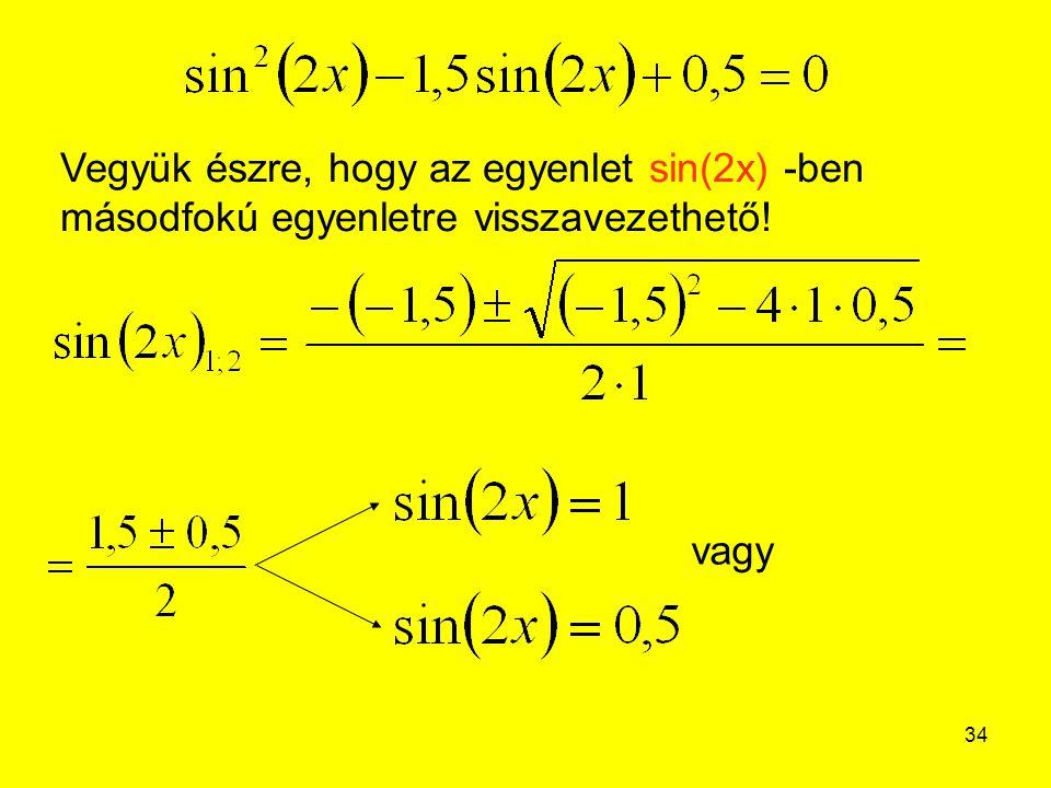 34 Vegyük észre, hogy az egyenlet sin(2x) -ben másodfokú egyenletre visszavezethető! vagy