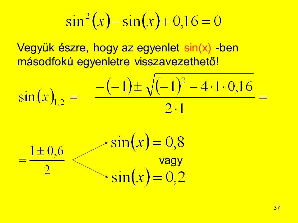 37 Vegyük észre, hogy az egyenlet sin(x) -ben másodfokú egyenletre visszavezethető! vagy