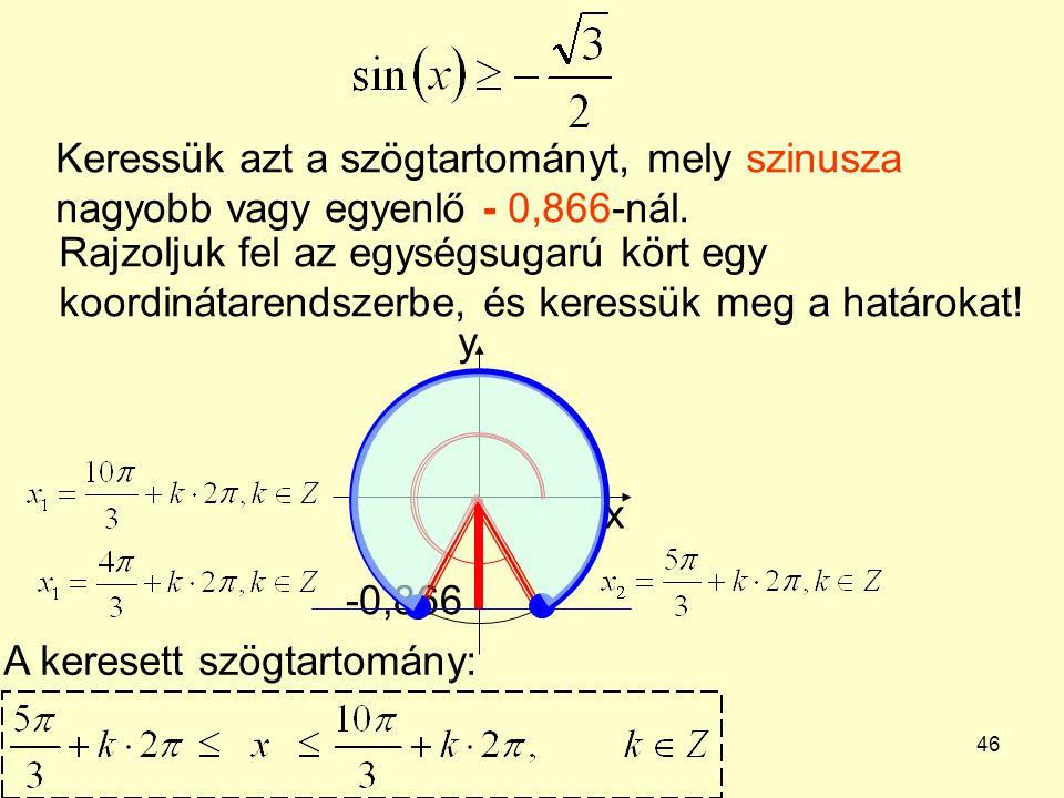 46 Keressük azt a szögtartományt, mely szinusza nagyobb vagy egyenlő - 0,866-nál. Rajzoljuk fel az egységsugarú kört egy koordinátarendszerbe, és kere