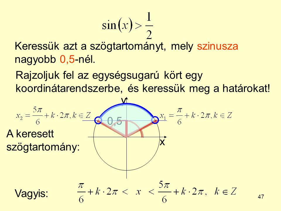 47 Keressük azt a szögtartományt, mely szinusza nagyobb 0,5-nél. Rajzoljuk fel az egységsugarú kört egy koordinátarendszerbe, és keressük meg a határo