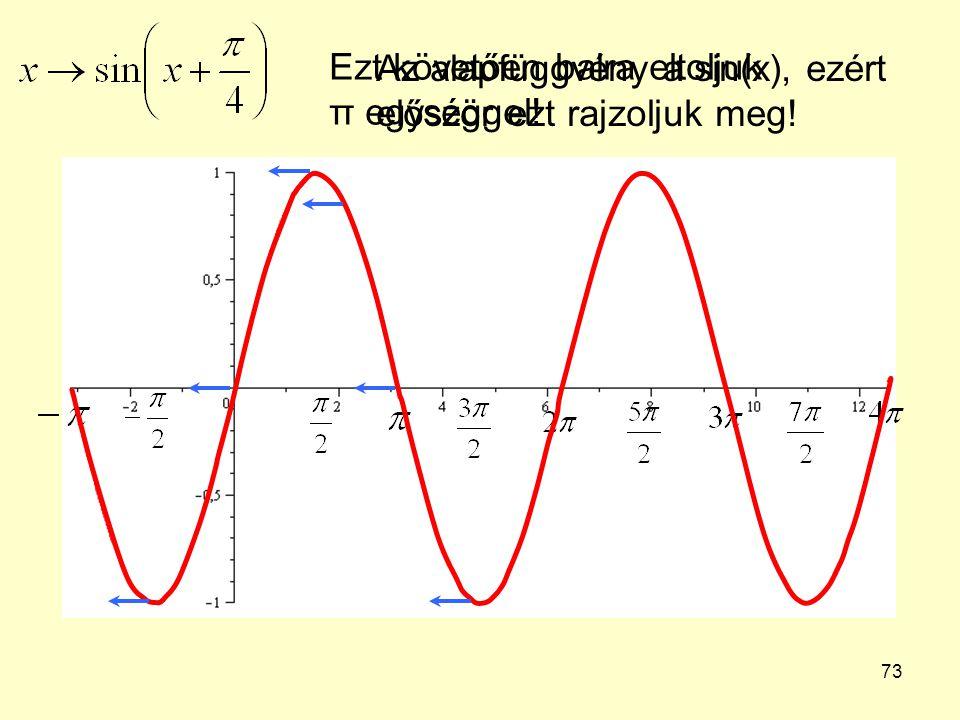 73 Az alapfüggvény a sin(x), ezért először ezt rajzoljuk meg! Ezt követően balra eltoljuk π egységgel!