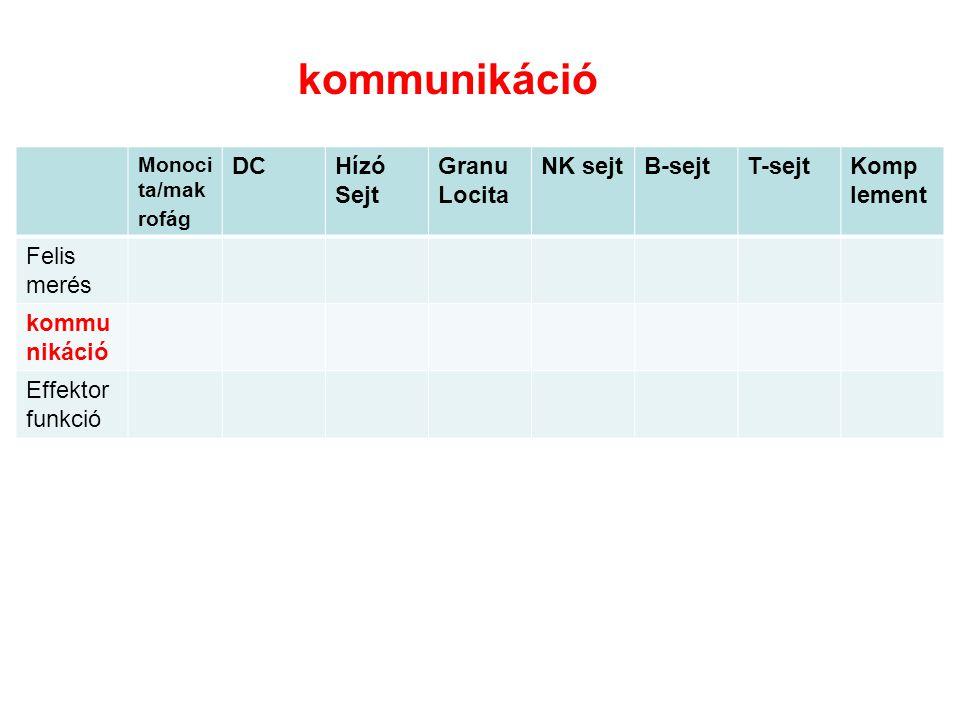 Monoci ta/mak rofág DCHízó Sejt Granu Locita NK sejtB-sejtT-sejtKomp lement Felis merés kommu nikáció Effektor funkció kommunikáció