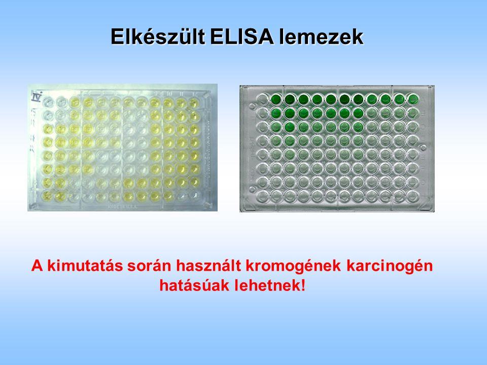 Elkészült ELISA lemezek A kimutatás során használt kromogének karcinogén hatásúak lehetnek!