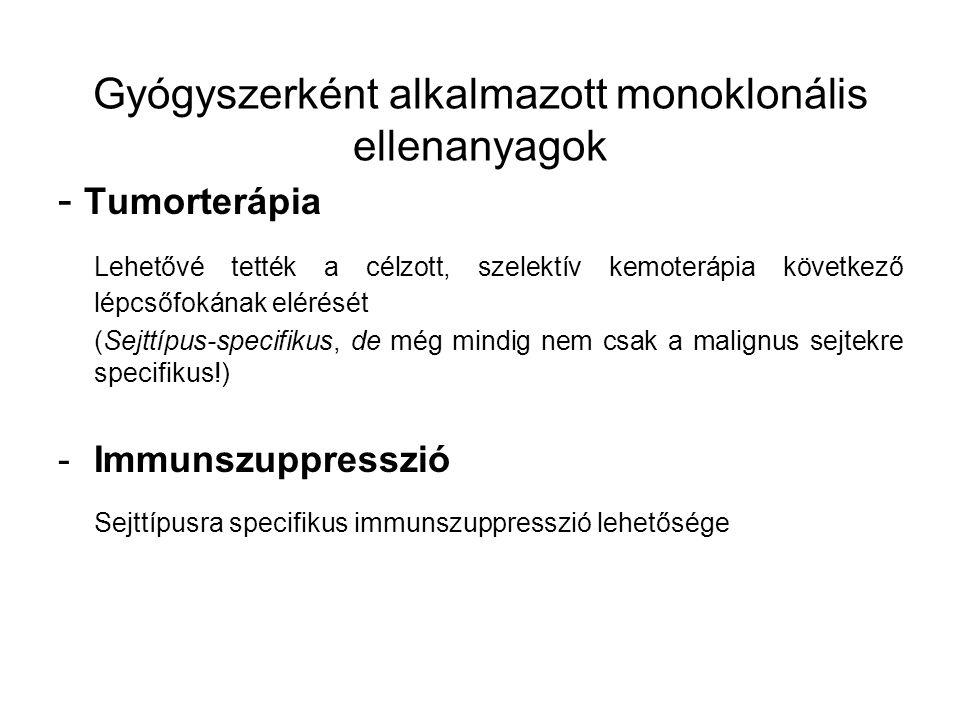 - Tumorterápia Lehetővé tették a célzott, szelektív kemoterápia következő lépcsőfokának elérését (Sejttípus-specifikus, de még mindig nem csak a malignus sejtekre specifikus!) -Immunszuppresszió Sejttípusra specifikus immunszuppresszió lehetősége Gyógyszerként alkalmazott monoklonális ellenanyagok