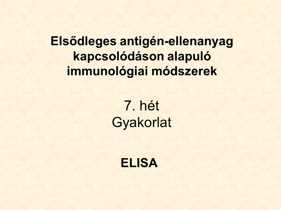 7. hét Gyakorlat ELISA Elsődleges antigén-ellenanyag kapcsolódáson alapuló immunológiai módszerek