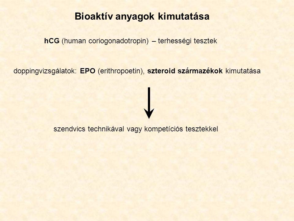 Bioaktív anyagok kimutatása hCG (human coriogonadotropin) – terhességi tesztek doppingvizsgálatok: EPO (erithropoetin), szteroid származékok kimutatása szendvics technikával vagy kompetíciós tesztekkel