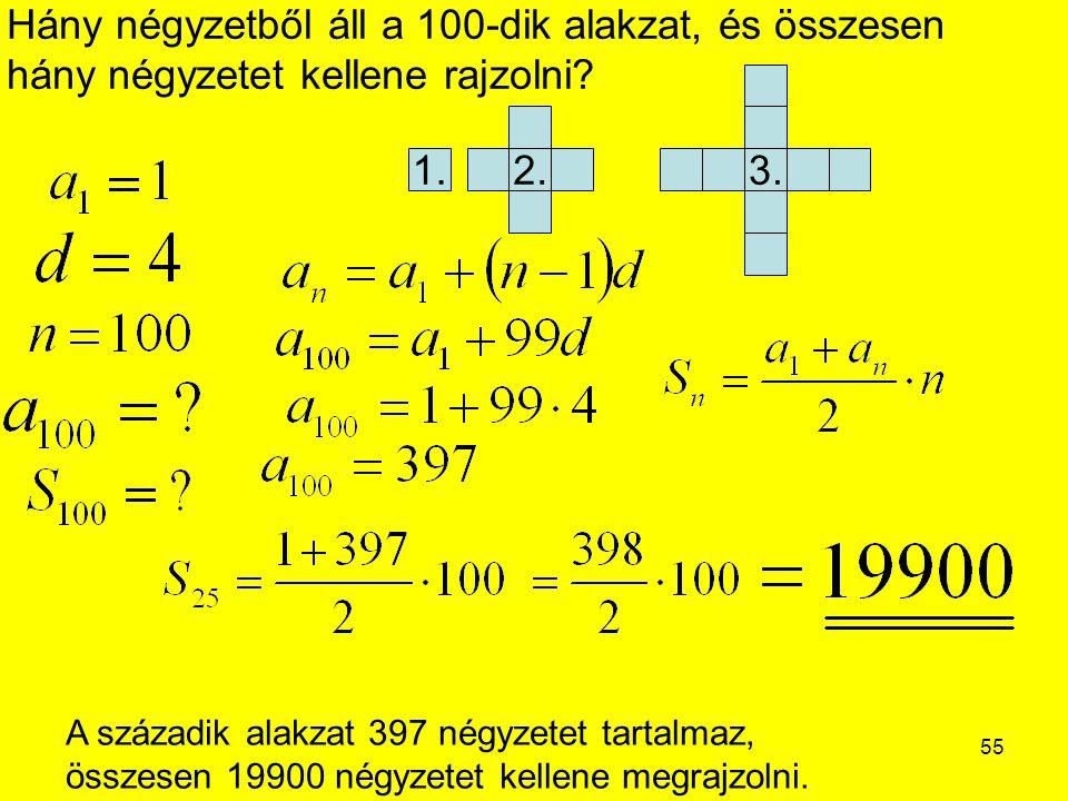 55 Hány négyzetből áll a 100-dik alakzat, és összesen hány négyzetet kellene rajzolni? A századik alakzat 397 négyzetet tartalmaz, összesen 19900 négy